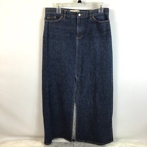 GAP JEANS Long Front Slit Blue Denim Skirt Size 10